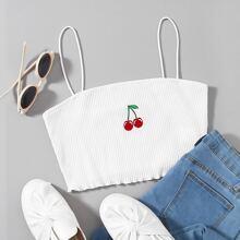 Strick Crop Cami Top mit Kirsche Stickereien