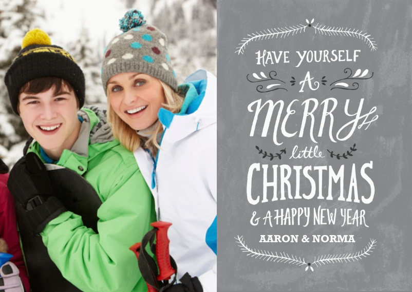 Christmas Photo Cards 5x7 Folded Cards, Standard Cardstock 85lb, Card & Stationery -Merry Little Christmas