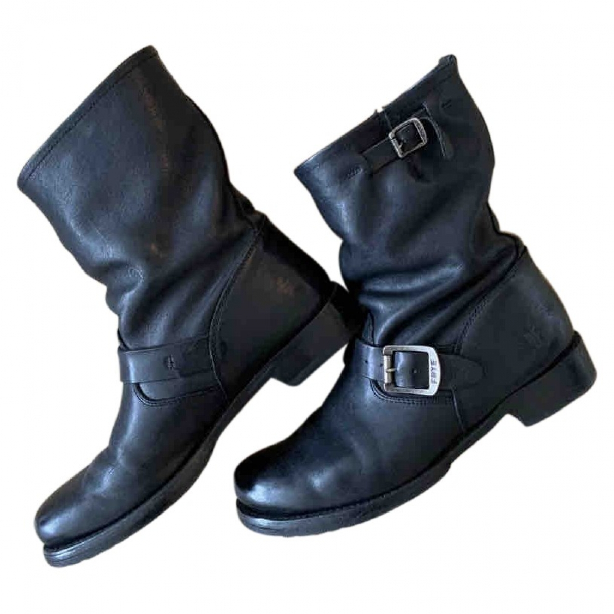 Frye \N Black Leather Boots for Women 9.5 US