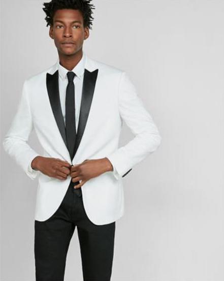 White Cotton Sateen Tuxedo Jacket