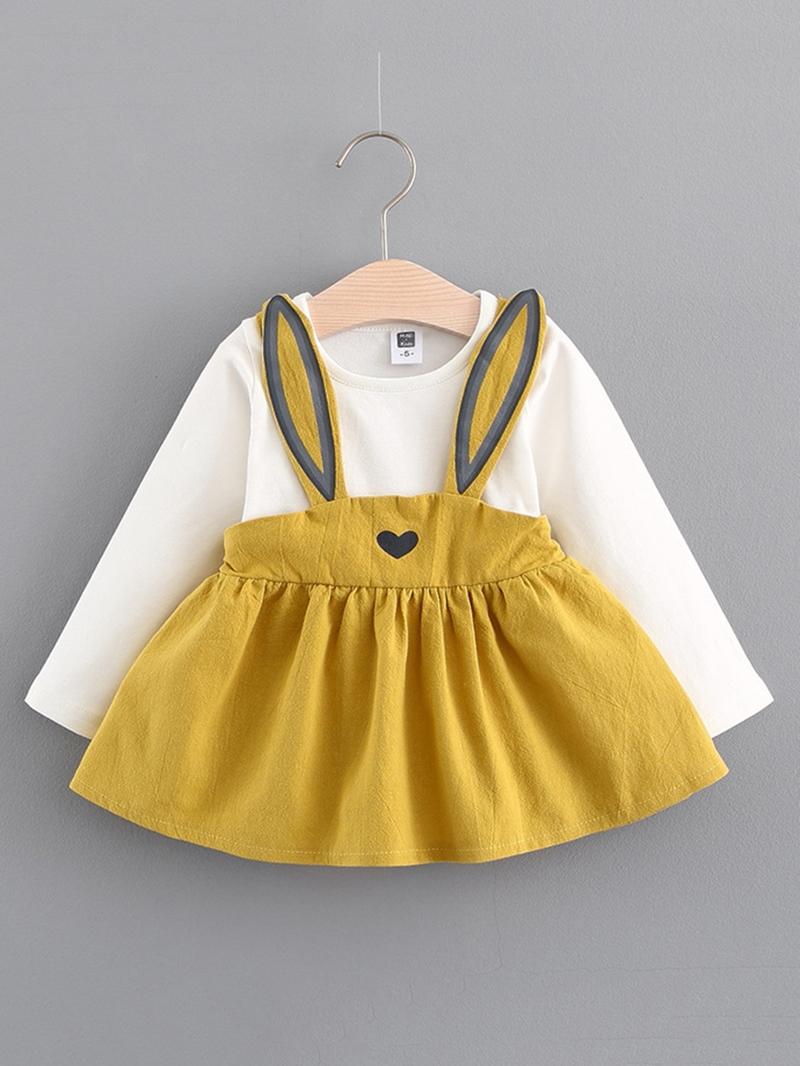 Ericdress Lovely Rabbit Suspenders Patchwork Baby Girls Dress
