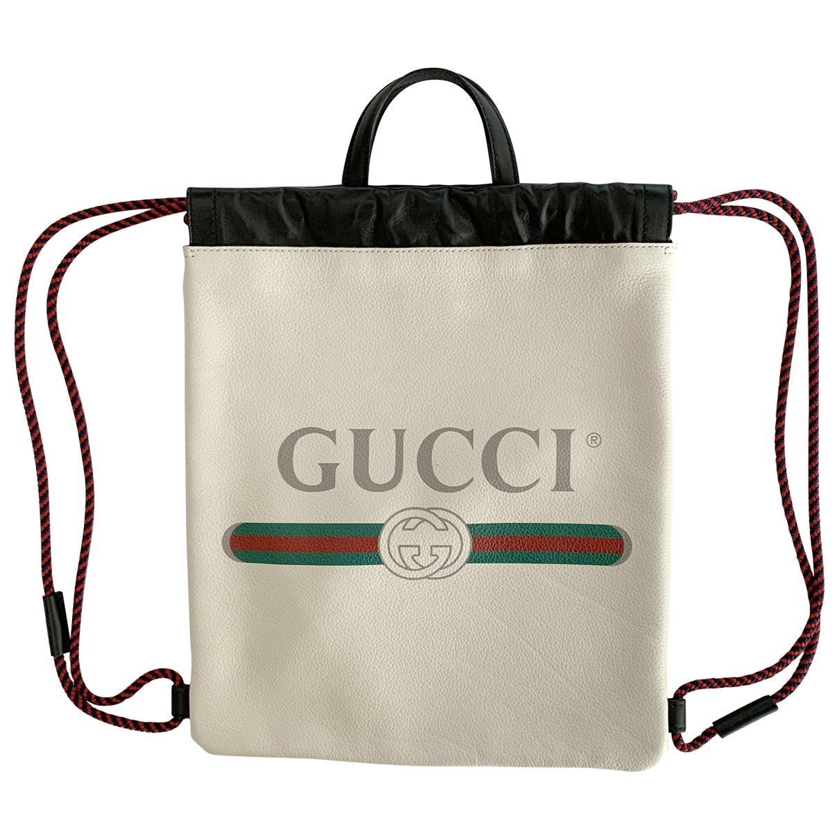 Gucci - Sac a dos   pour femme en cuir - beige