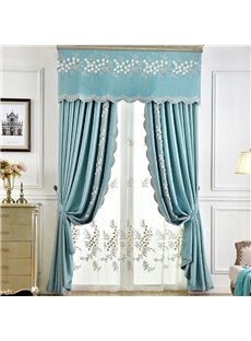 Modern American Style Light Luxurious Delicate Embossed Embroidery Blackout Custom Grommet Curtain