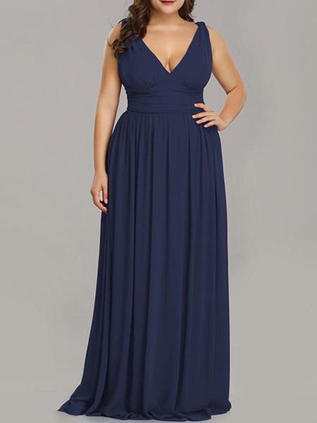 Milanoo Plus Size Bridesmaid Dresses A Line V Neck Floor Length Zipper Matte Satin Formal Gowns