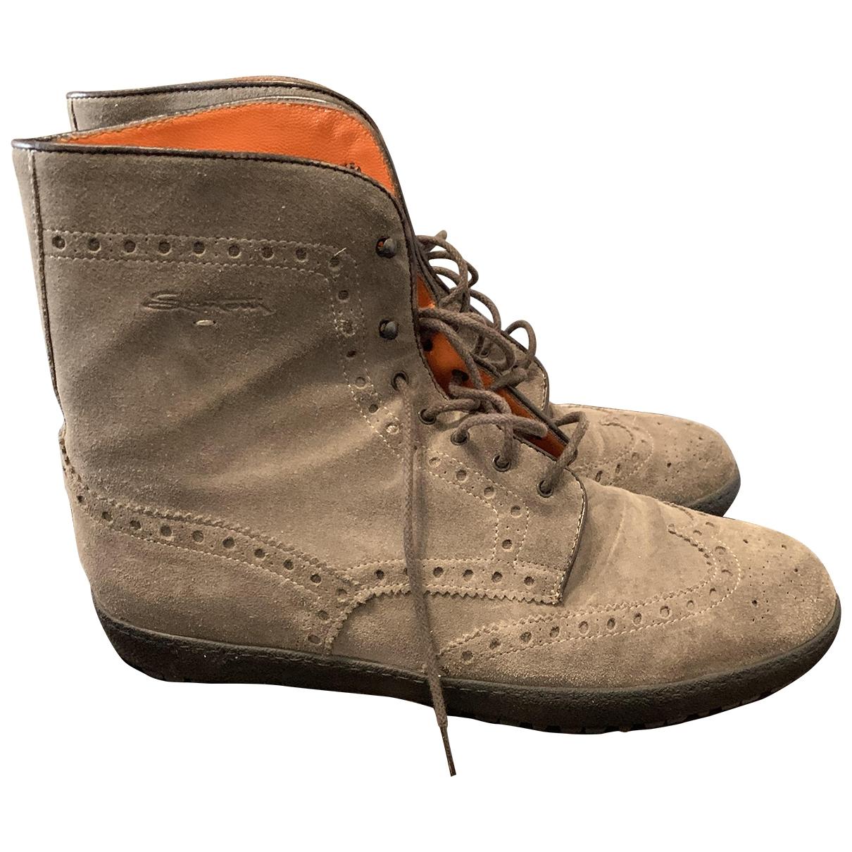 Santoni \N Beige Suede Boots for Men 44 EU