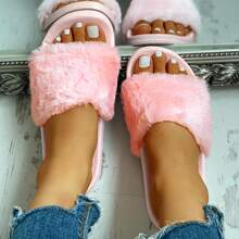 Open Toe Fluffy Decor Slippers