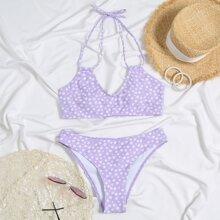 Ditsy Floral Halter Bikini Swimsuit