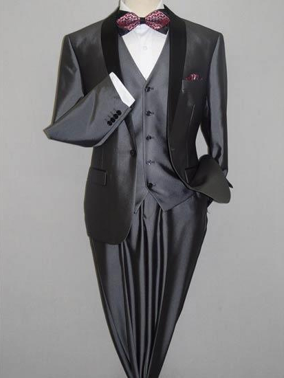 Men's Gray Black Shawl Tuxedo Slim Fitted 3 Piece Two Toned Shiny Suit