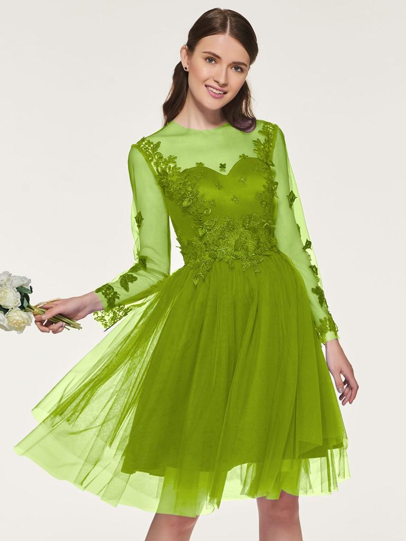 Ericdress Appliques Long Sleeves Short Bridesmaid Dress