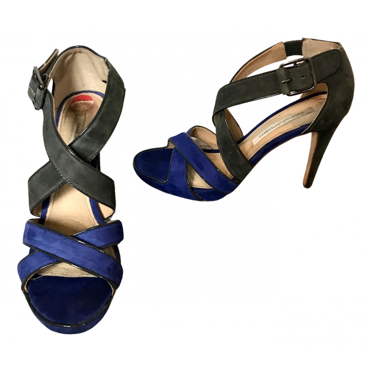 Diane Von Furstenberg N Blue Suede Heels for Women 6 UK