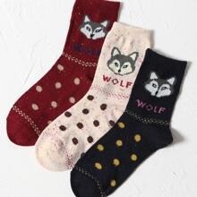 3 Paare Socken mit Punkten Muster