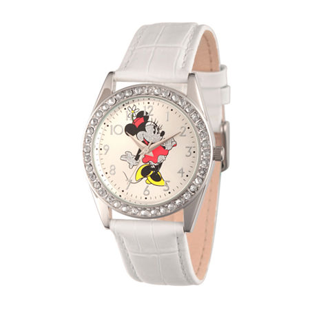 Disney Womens White And Silver Tone Vintage Minnie Mouse Glitz Strap Watch W002764, One Size , No Color Family