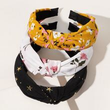 3pcs Ditsy Floral & Star Pattern Haarband