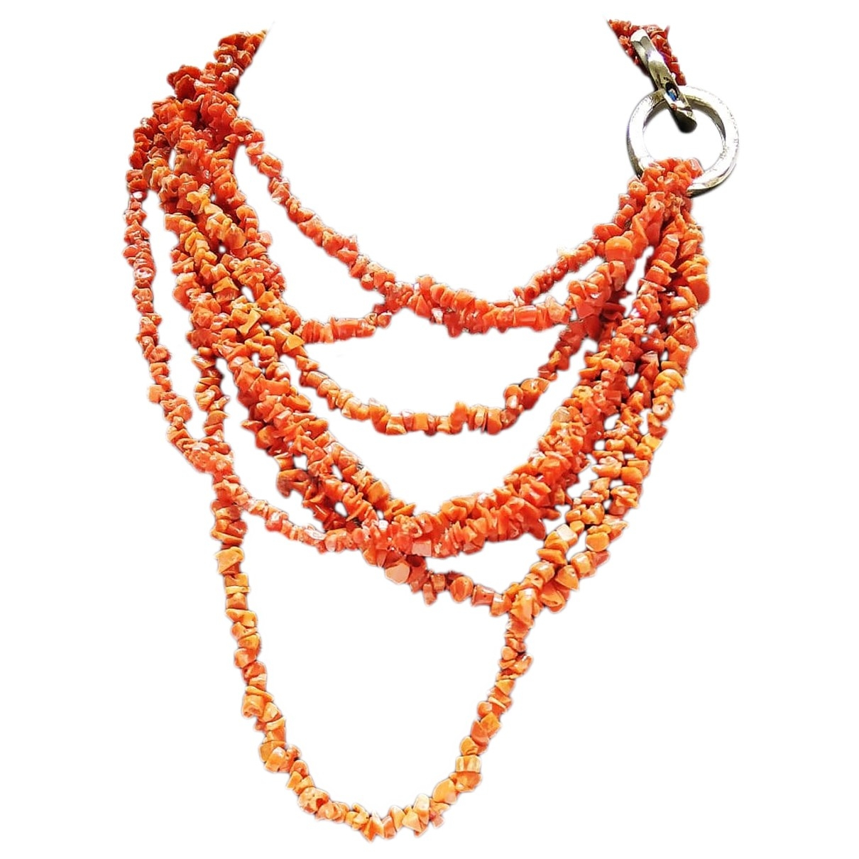 Non Signé / Unsigned Corail Red Silver necklace for Women \N
