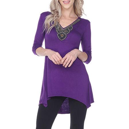 White Mark Luna Womens V Neck 3/4 Sleeve Tunic Top, Small , Purple