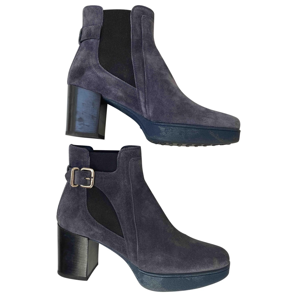 Tod's \N Blue Suede Ankle boots for Women 39 EU