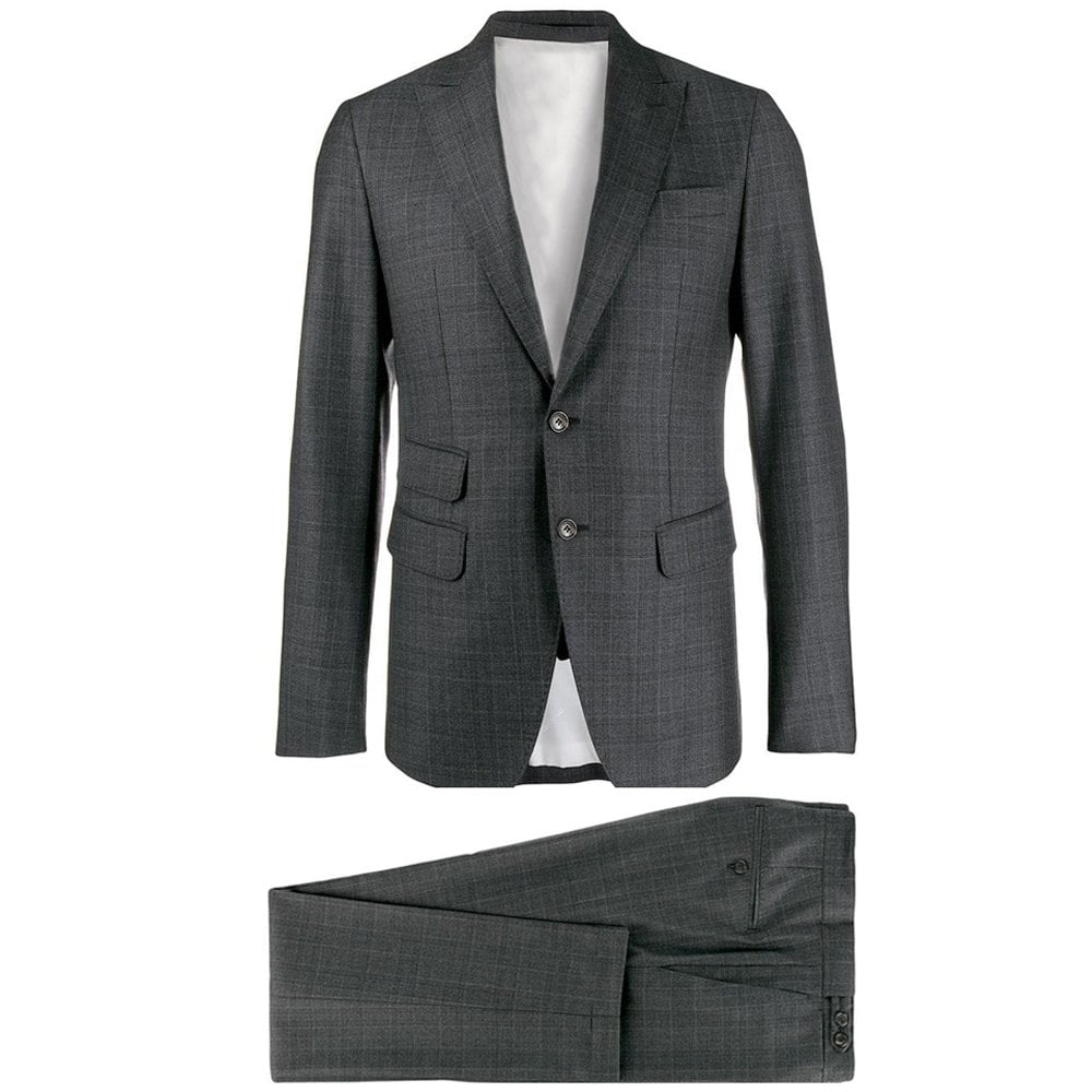 Dsquared2 Grey Checkered Patterned Suit Colour: GREY, Size: EXTRA LARGE