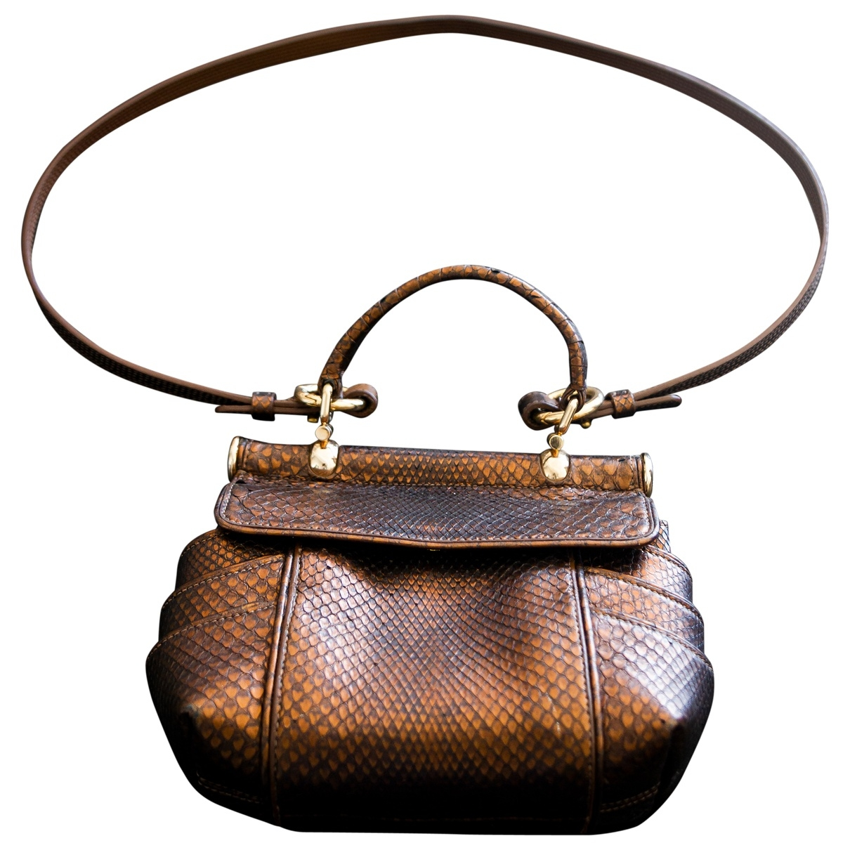 Roberto Cavalli \N Gold Python handbag for Women \N
