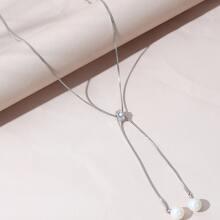 Rhinestone Decor Y-lariat Necklace