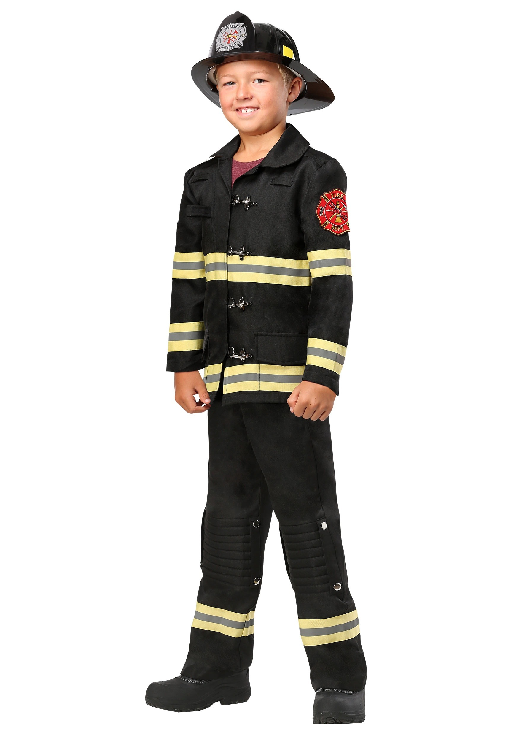 Black Uniform Firefighter Costume for Kids