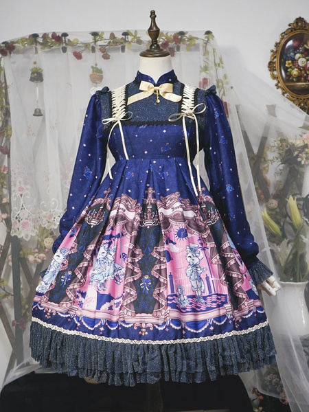 Milanoo Classci Lolita OP Dress Neverland Opera Cat Print Ruffle Bow Lolita One Piece Dress Original Design
