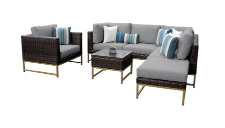 Barcelona BARCELONA-07f-GLD-GREY 7-Piece Patio Set 07f with 2 Corner Chairs  1 Club Chair  2 Armless Chairs  1 Coffee Table and 1 Ottoman - Beige and