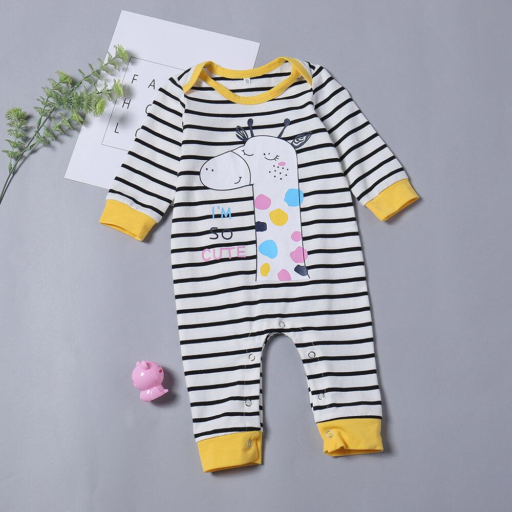 Giraffe Print Stripe Baby Long Sleeve Cotton Romper For 0-24M