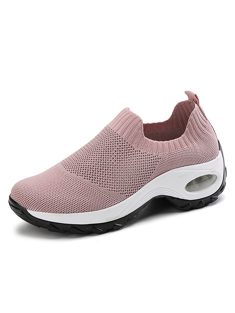 Women Sports Knitted Fabric Breathable Dance Platform Casual Sneakers