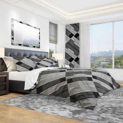 BED18995-Q Designart 'Black And White Check Stipes Pattern' Modern & Contemporary Duvet Cover