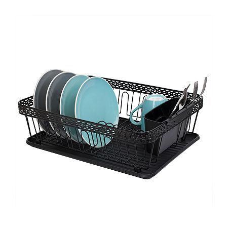 Home Basics 3 Piece Decorative Wire Steel Dish Rack, One Size , Black