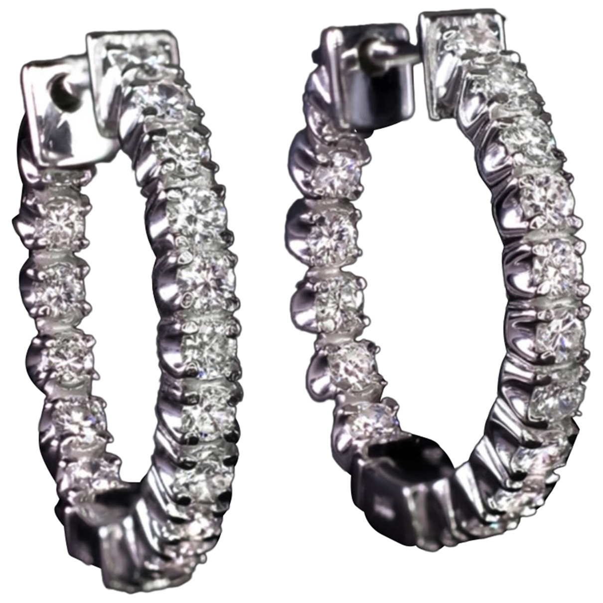 Non Signé / Unsigned Créoles White White gold Earrings for Women \N