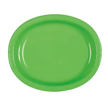 Solid Color Party Oval Paper Plate, 8Pcs - Lime
