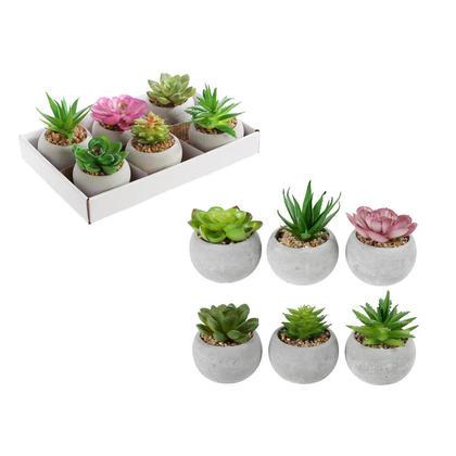 Small Green Plastic Artificial Succulent Plants in Round Concrete Pot, 1 Randomized Style Per Pack