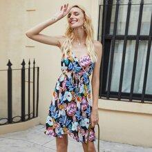 Tropical Print Tie Front Cami Dress