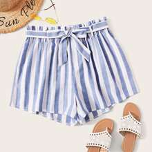 Plus Striped Belted Paperbag Shorts