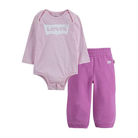 Levi's 2 Pc Set Girls Logo Pant Set Baby, 3 Months , Pink