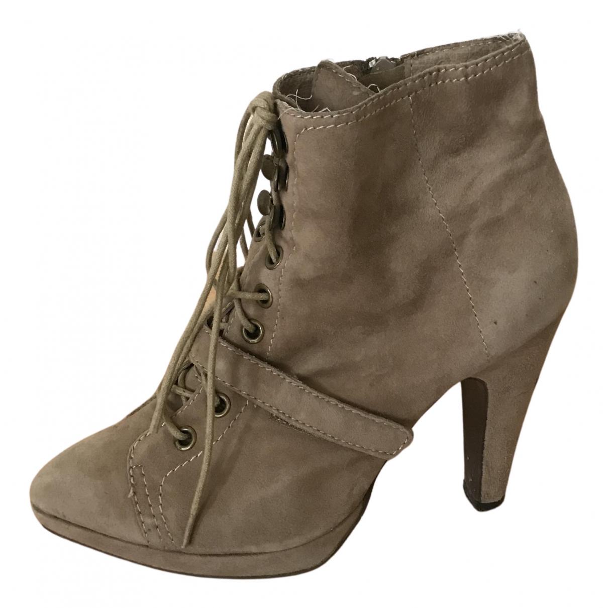Stefanel - Boots   pour femme en cuir - camel