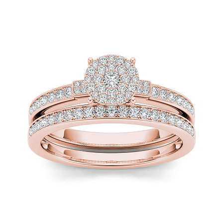 1/2 CT. T.W. Diamond Cluster 10K Rose Gold Bridal Ring Set, 8 1/2 , No Color Family