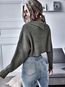 Ripped Pocket Front Crop Sweater