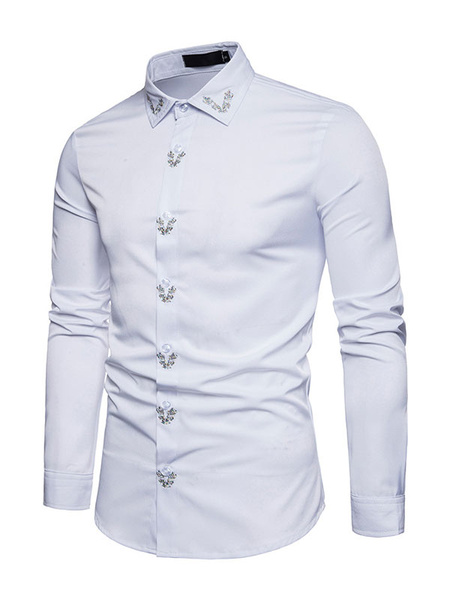 Milanoo Men Casual Shirt Embroidered Cotton Shirt Long Sleeve Spring Shirt