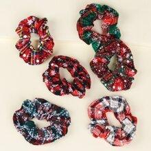 6pcs Toddler Girls Christmas Scrunchie