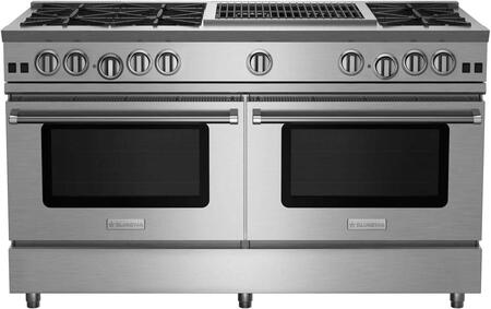RNB606CBV2CCPLT 60 RNB Series Freestanding Gas Range with 6 Cast Iron Open Burners  4.5 Cu. Ft. Convection Oven  24 Charbroiler  Simmer Burner