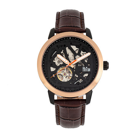 Reign Mens Automatic Brown Leather Strap Watch-Reirn5903, One Size , No Color Family