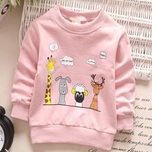 Sweatshirt mit Karikatur & Buchstaben Grafik