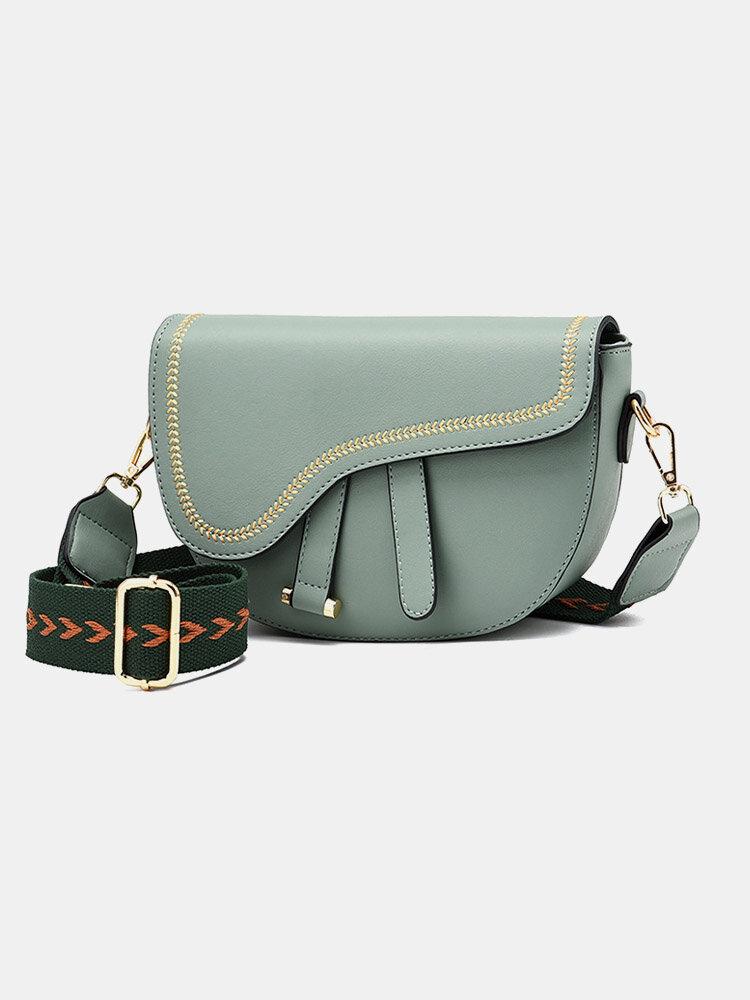 Women Embroidered Shoulder Strap Multi-pocket Crossbody Bag Shoulder Bag Saddle Bag