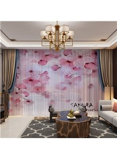 3D Printing Scenic Cherry Blossoms Romantic Style Custom 2 Panels Custom Sheer Curtains