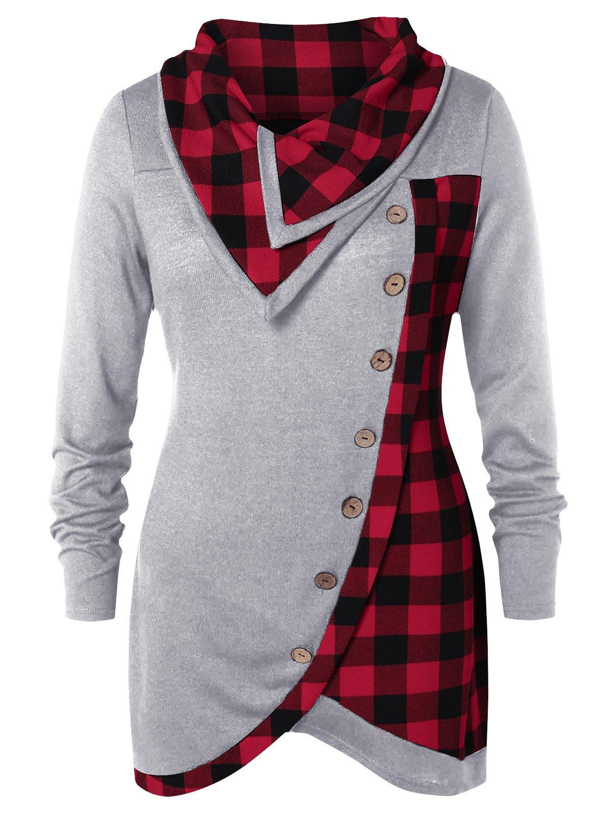 Plus Size Skew Button Plaid Spliced Tulip Front T-shirt