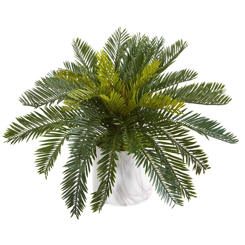 Cycas Artificial Plant in Marble Finished Vase