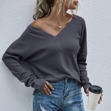 Strick einfarbiges T-Shirt mit V-Kragen