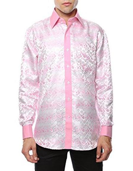Mens Shiny Satin Floral Collar Shirt Flashy Stage Woven White-Pink